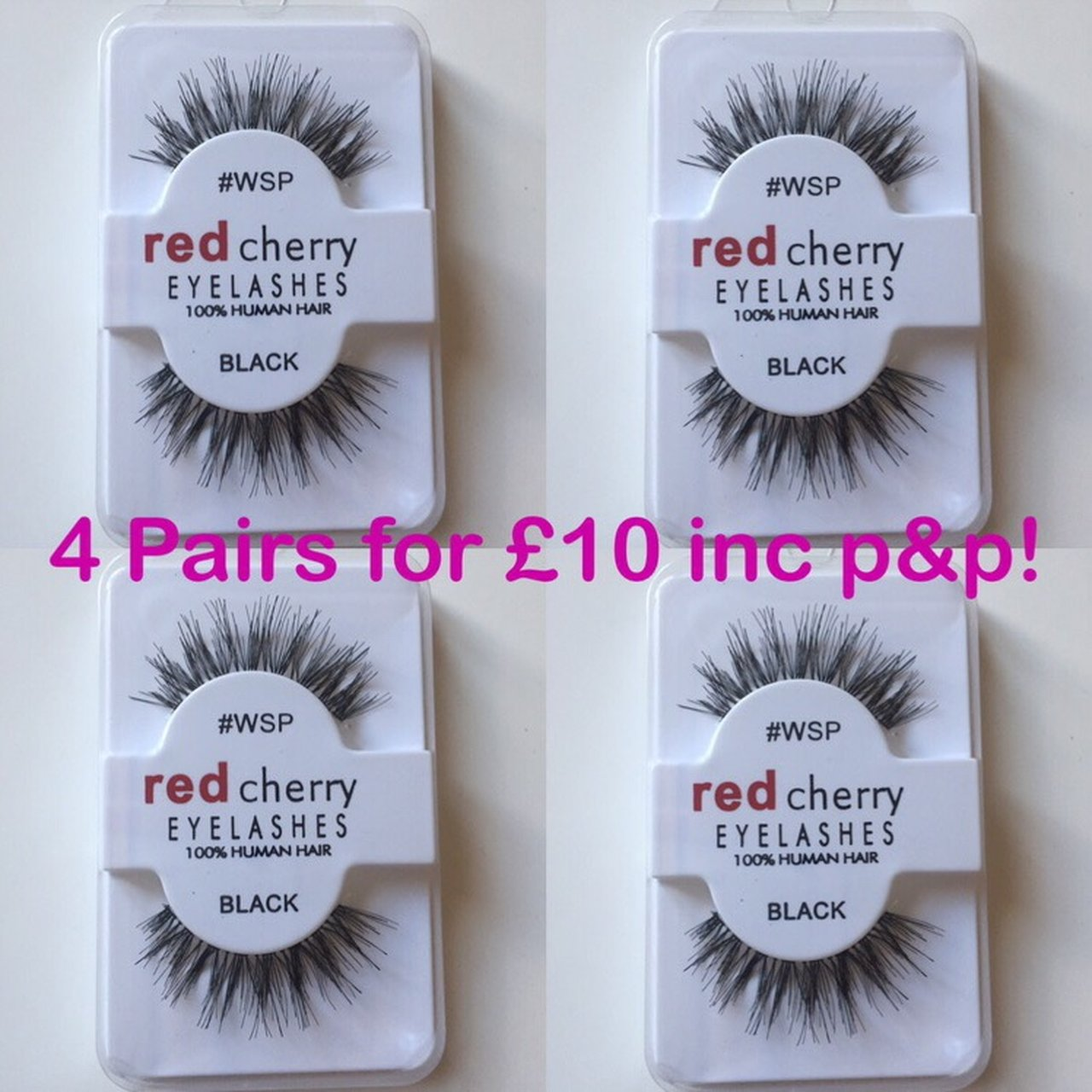 4 Pairs X Red Cherry Wsp False Black Eyelashes 100 Human Depop