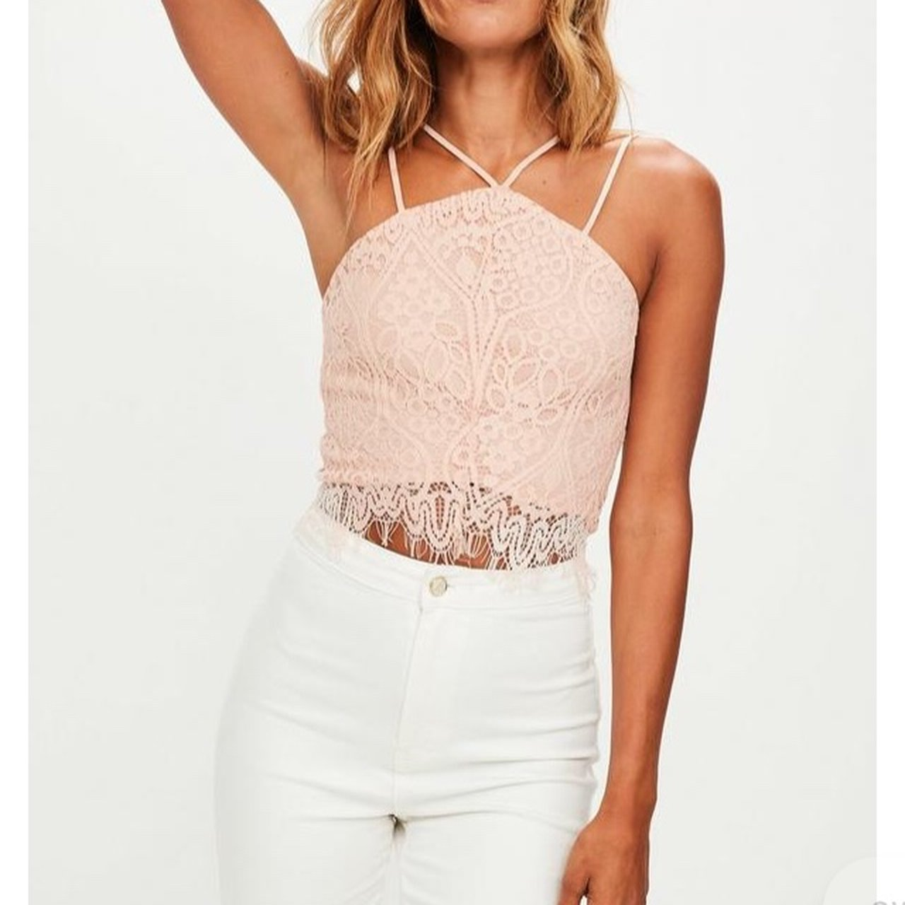 c95a87ab0652a Missguided size 10 peach pink Pastel lace crop bralet top - Depop