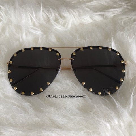 571eac67dfc28 Black   Gold studded aviator sunglasses Also in - Depop