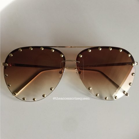 4e207a125a067 Brown   Gold studded aviator sunglasses Also available - Depop