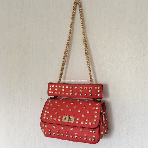 e0bfcf3fd5 Red   Gold Square studded twist fold over bag • too handle a - Depop