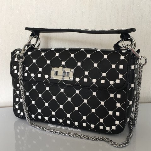 0bc1b76fed Black   White Square studded twist fold over bag • too can a - Depop