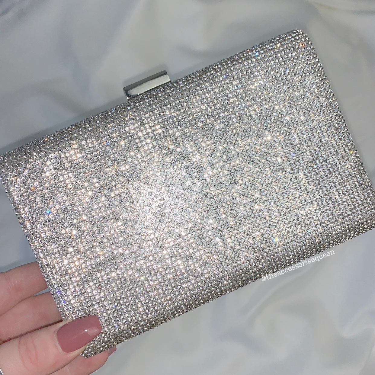 Silver Diamanté Box Clutch Bag   • Also Available In by Depop