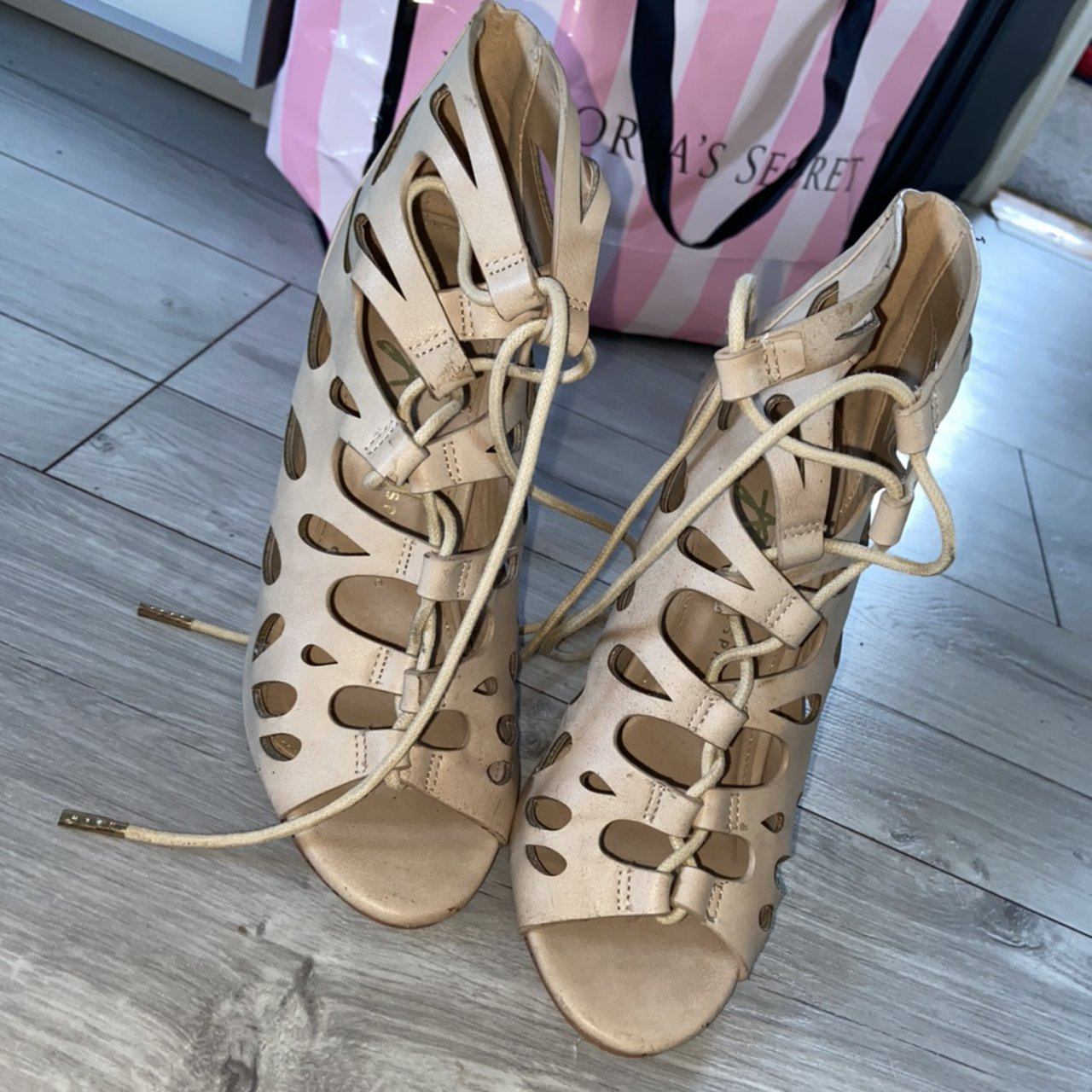 Beige nude lace up heels from penneys