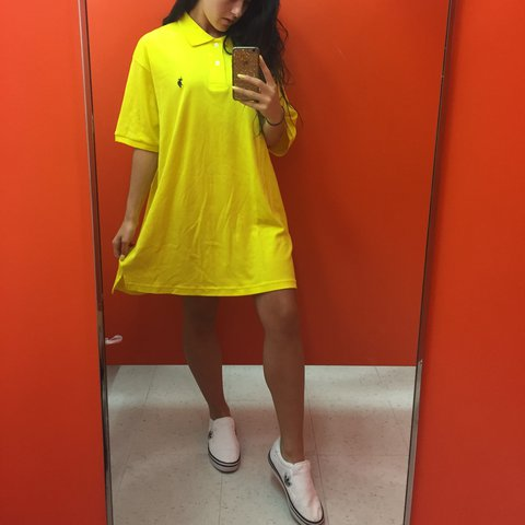 249d682af9 @melis8. 2 years ago. Oakville, Canada. POLO RALPH LAUREN OVER SIZED BRIGHT  YELLOW T-SHIRT DRESS.