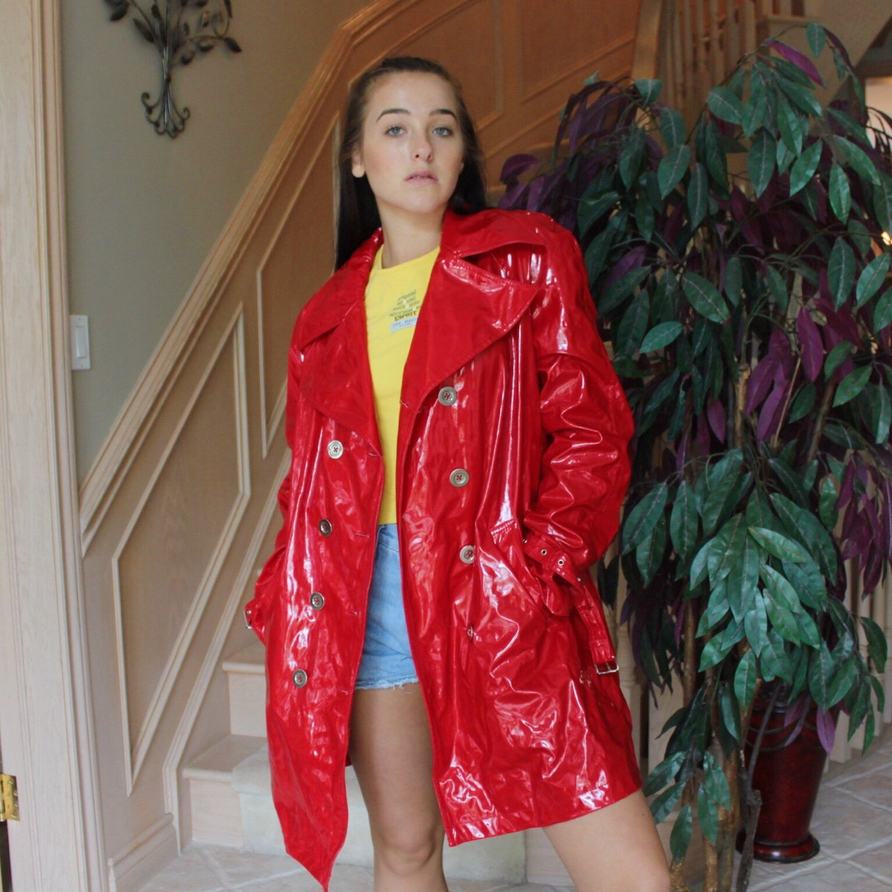 60a687237 THE MOST KILLER VINYL/PATENT LEATHER RED TRENCH COAT!!!!! IS - Depop
