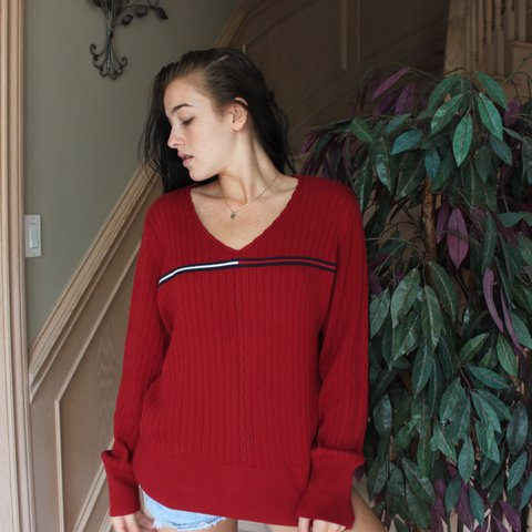 e11872bc9 @melis8. 2 years ago. Dysart and Others, Canada. RED TOMMY HILFIGER V NECK  SWEATER!! SIZE MEDIUM 40$ CAD/30$ USD