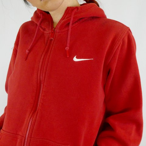 6569ca365 @melis8. 2 years ago. Hamilton, Canada. RED NIKE ZIP UP SWEATER 👅 SIZE  LARGEEE! 40$ CAD/30$ USD