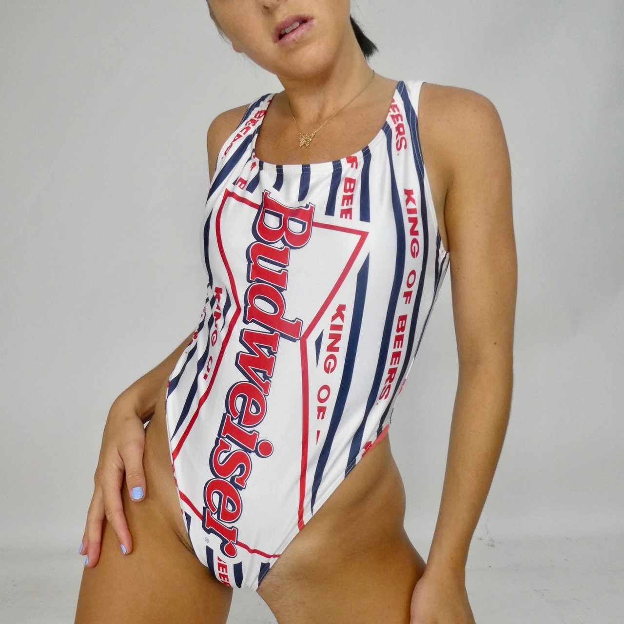 346acfe01b9c8 VINTAGE HIGH HIP BUDWEISER ONE PIECE BATHING SUIT! Size is - Depop