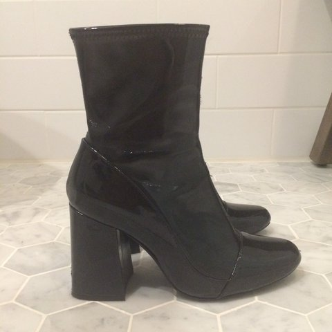 653ce12218eb8 Zara patent sock style ankle high heel boots ! V similar to - Depop