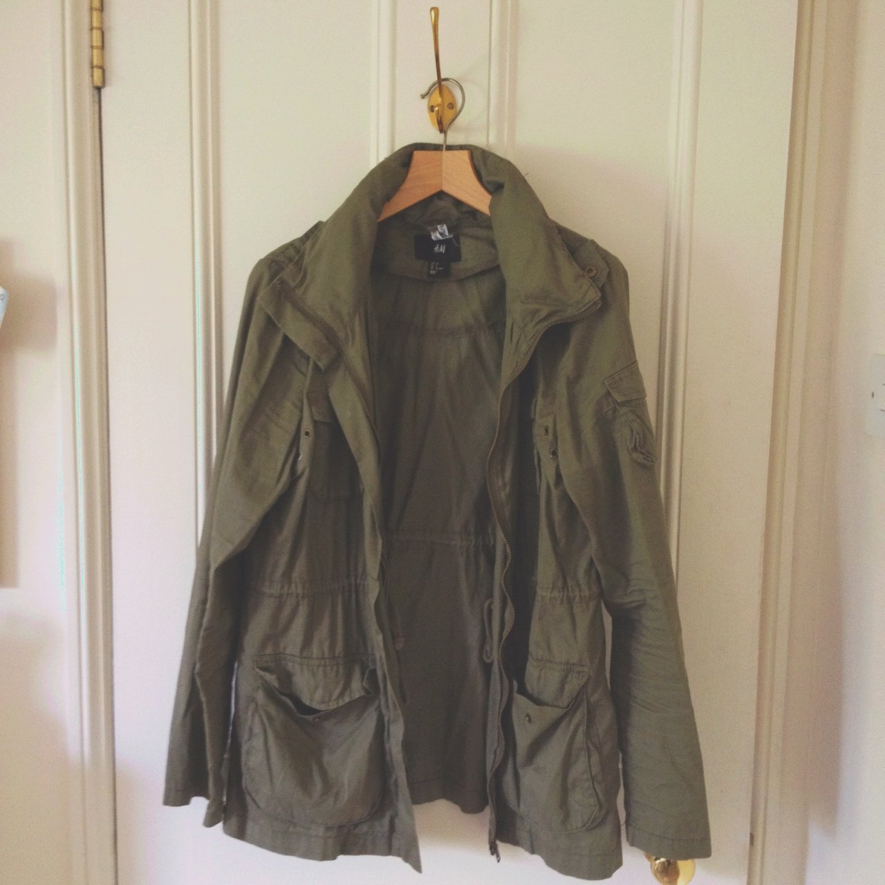 Khaki Army Jacket from H M with hood that can be zipped away - Depop c2459aad9128b