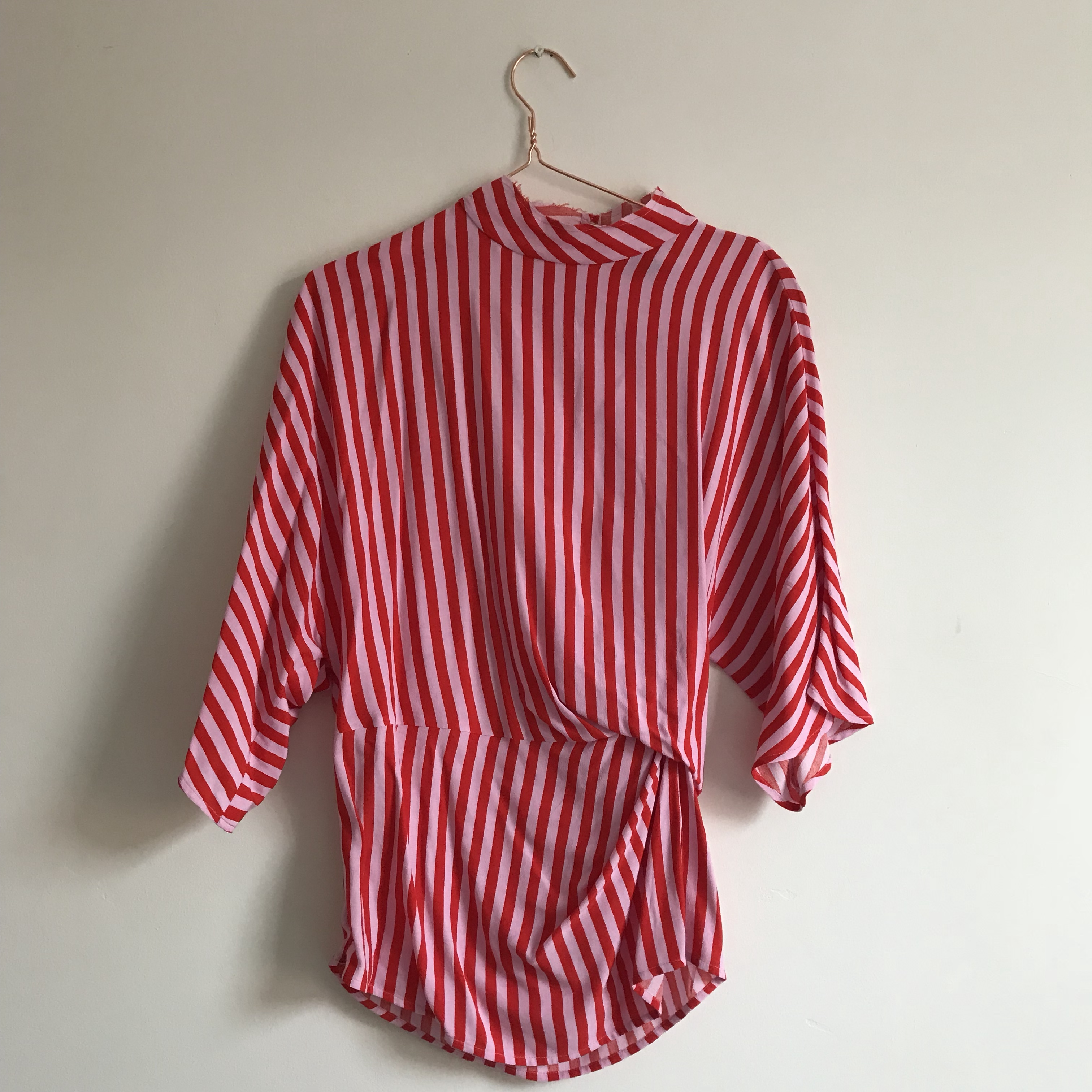 look out for offer discounts nice shoes Topshop candy striped pink red blouse top. High neck... - Depop