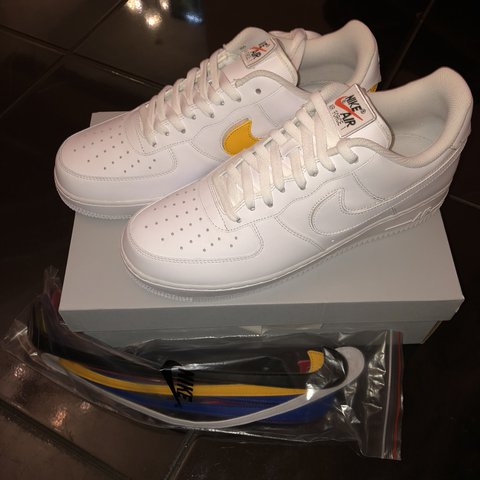 34d9228051b29b Nike Air Force 1 swoosh pack  07 QS white Changeable Nike 6 - Depop