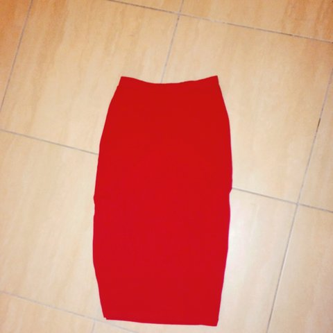 8866a64882b368 RED MIDI SKIRT for sale. It's a size 8 and its bodycon quite - Depop