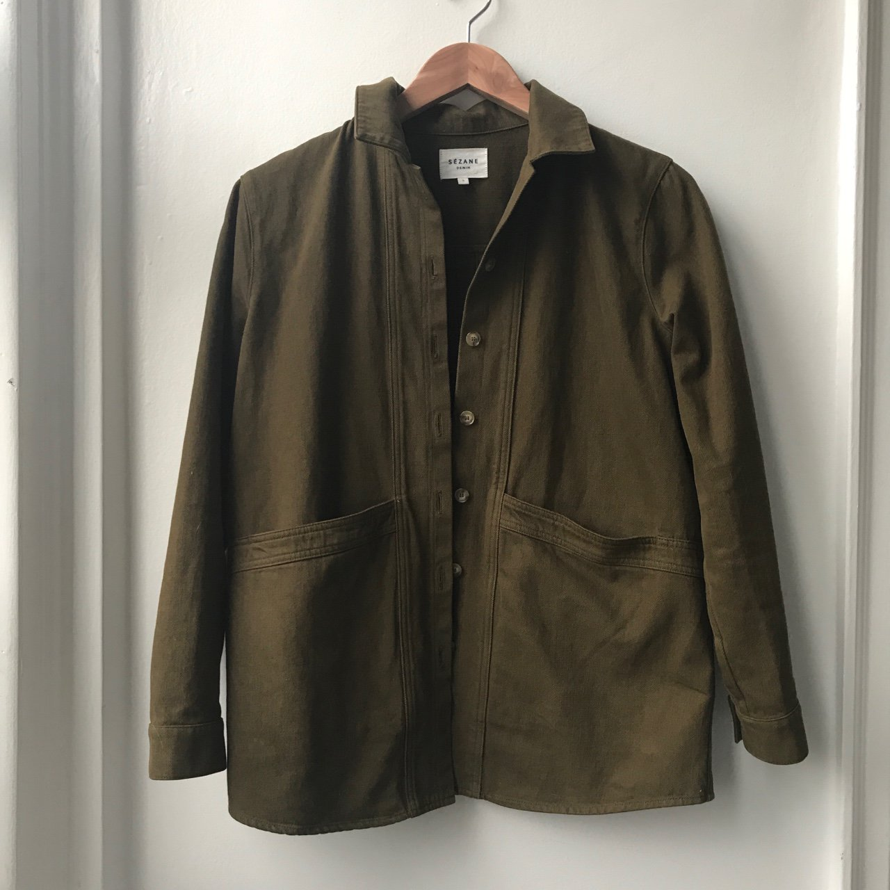 Sezane Work Jacket Size Small Olive Green Colored 145 Depop