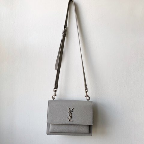 yves saint laurent medium sunset bag. light grey. only used - Depop 269e5ebf04853