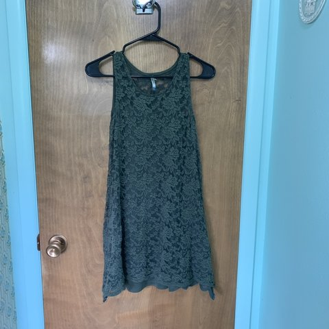 8bf0b6909e2 This cute olive green lace dress is perfect with some black - Depop
