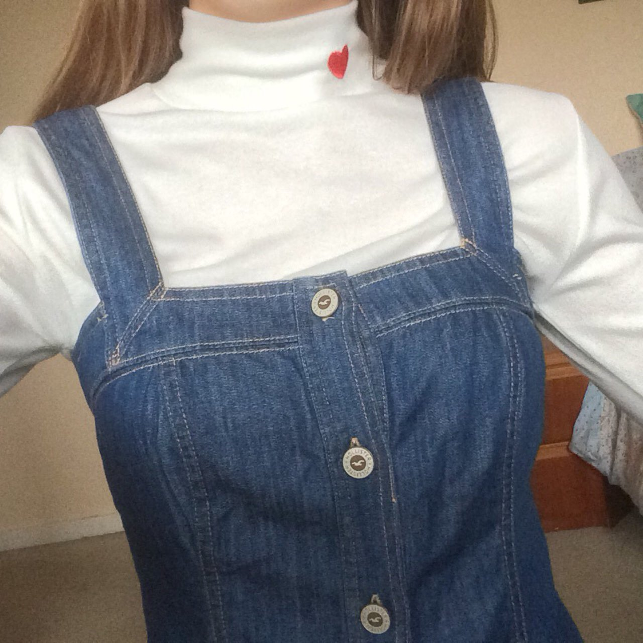 how to buy timeless design new design Adorable Hollister denim button down pinafore dress , size S small ...