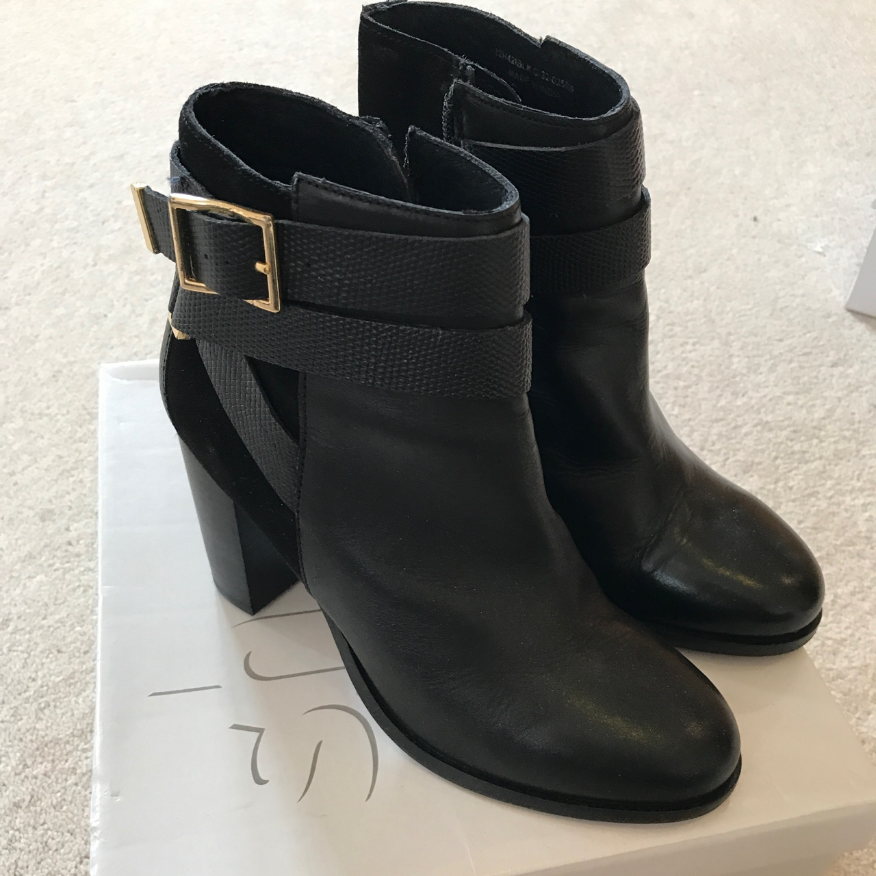 buying cheap united kingdom free delivery Topshop Harper black ankle boots with gold buckle.... - Depop