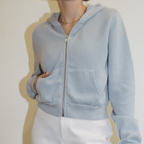 40e759810400e Brandy Melville Baby Blue Cropped Zip Up - BNWOT