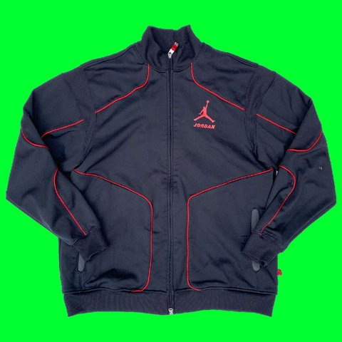 f3fce569863a3b Y2K AIR JORDAN black zip up track jacket with red line small - Depop