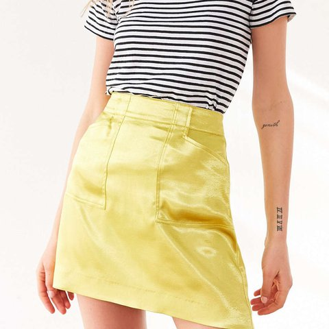 a7bafcf4b Urban Outfitters Silence + Noise Kelly Shiny Yellow Skirt . - Depop