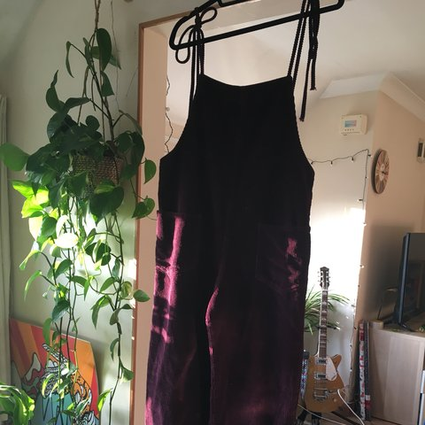f57080eed657 ASOS burgundy cord jumpsuit dungarees. Size 12. Tie up Wide - Depop