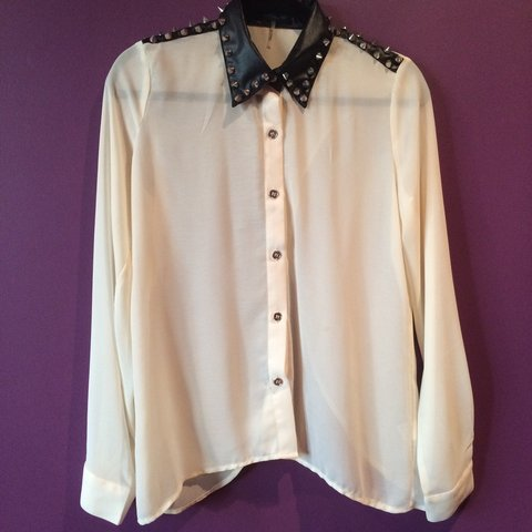 978e9351 white long sleeve sheer top with leather and studded accents - Depop