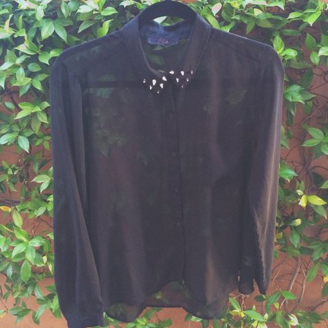 b79049b6 elodie black blouse with studded collar 😎 only worn once L - Depop