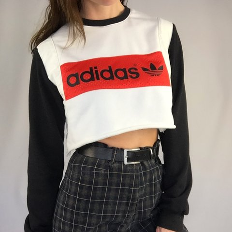 Adidas Crop Top Sweater Raw Edge Size Medium Left Model A Depop