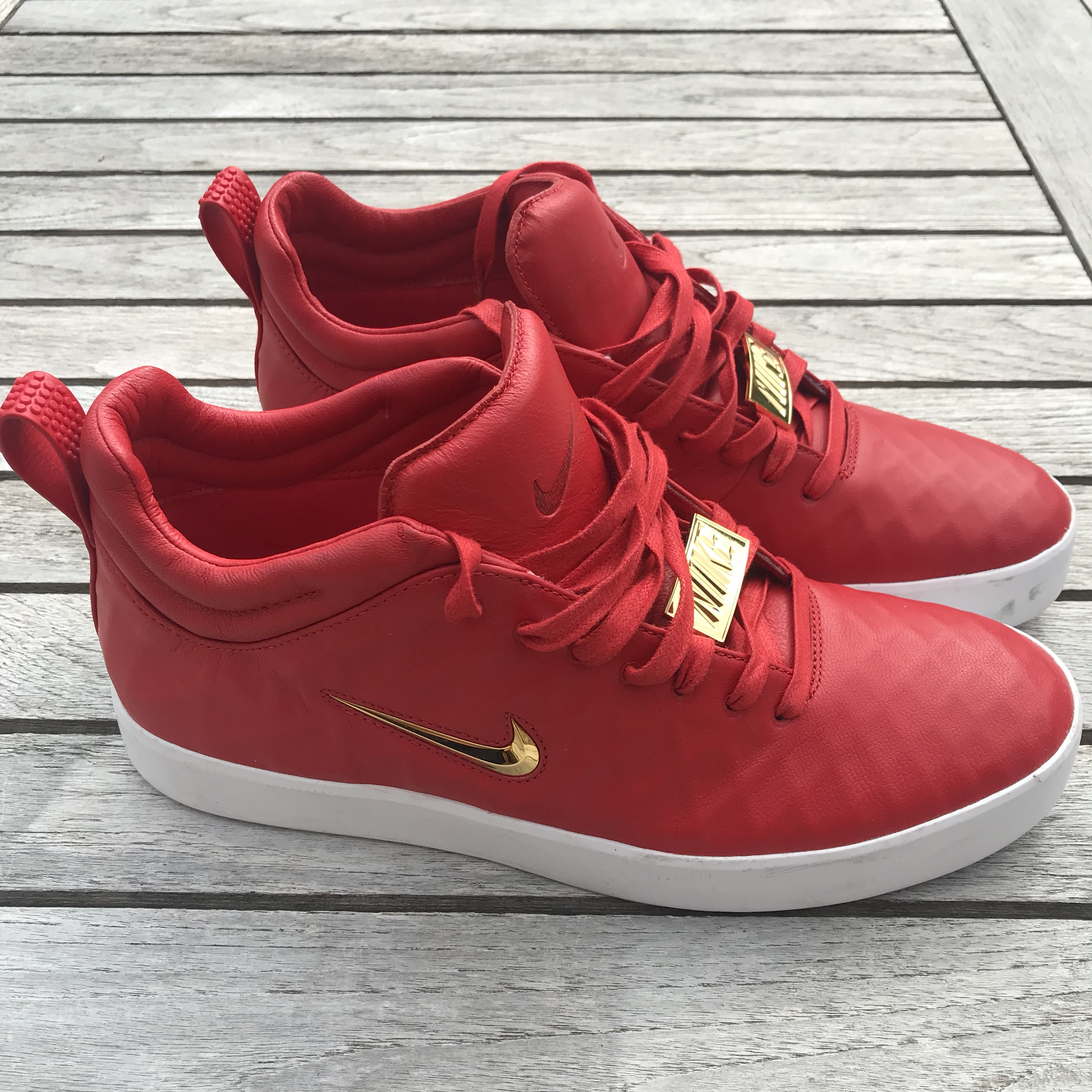 Red Nike Shoes - Leather with a gold