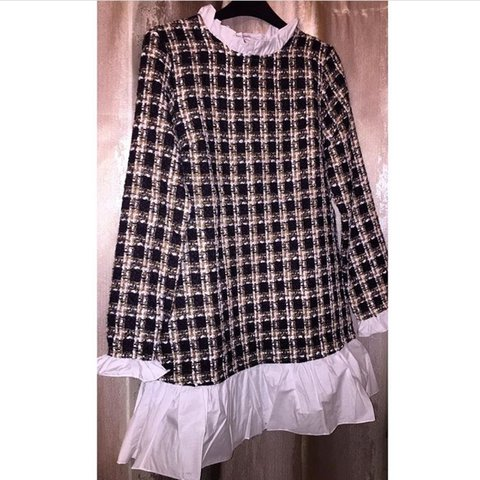 0694e97f93 Tweed shirt dress top never been worn size L will fit sizes - Depop