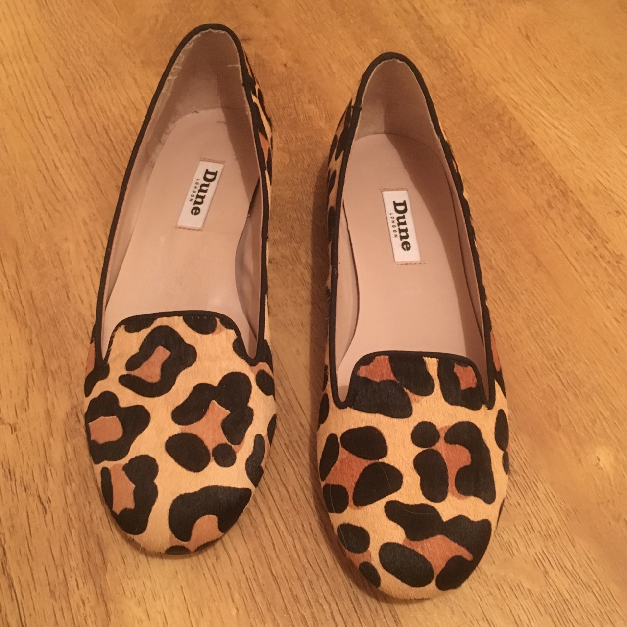 dune leopard loafers