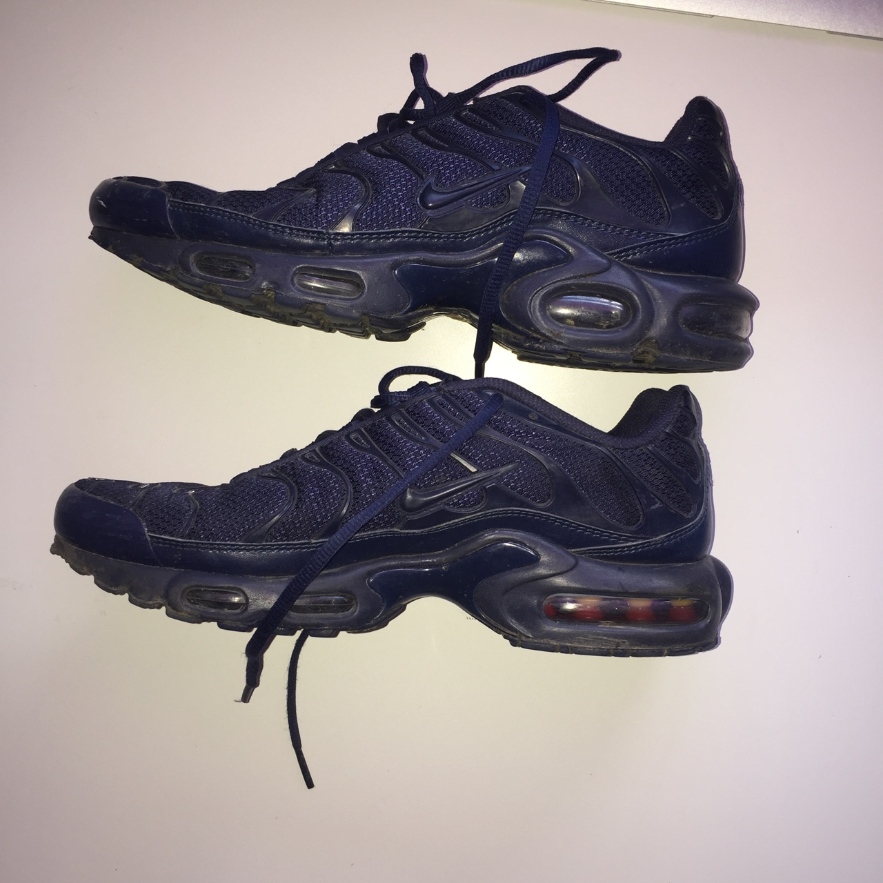 info for 7198e 57d5a Dark blue Nike tn Worn a few times but great... - Depop
