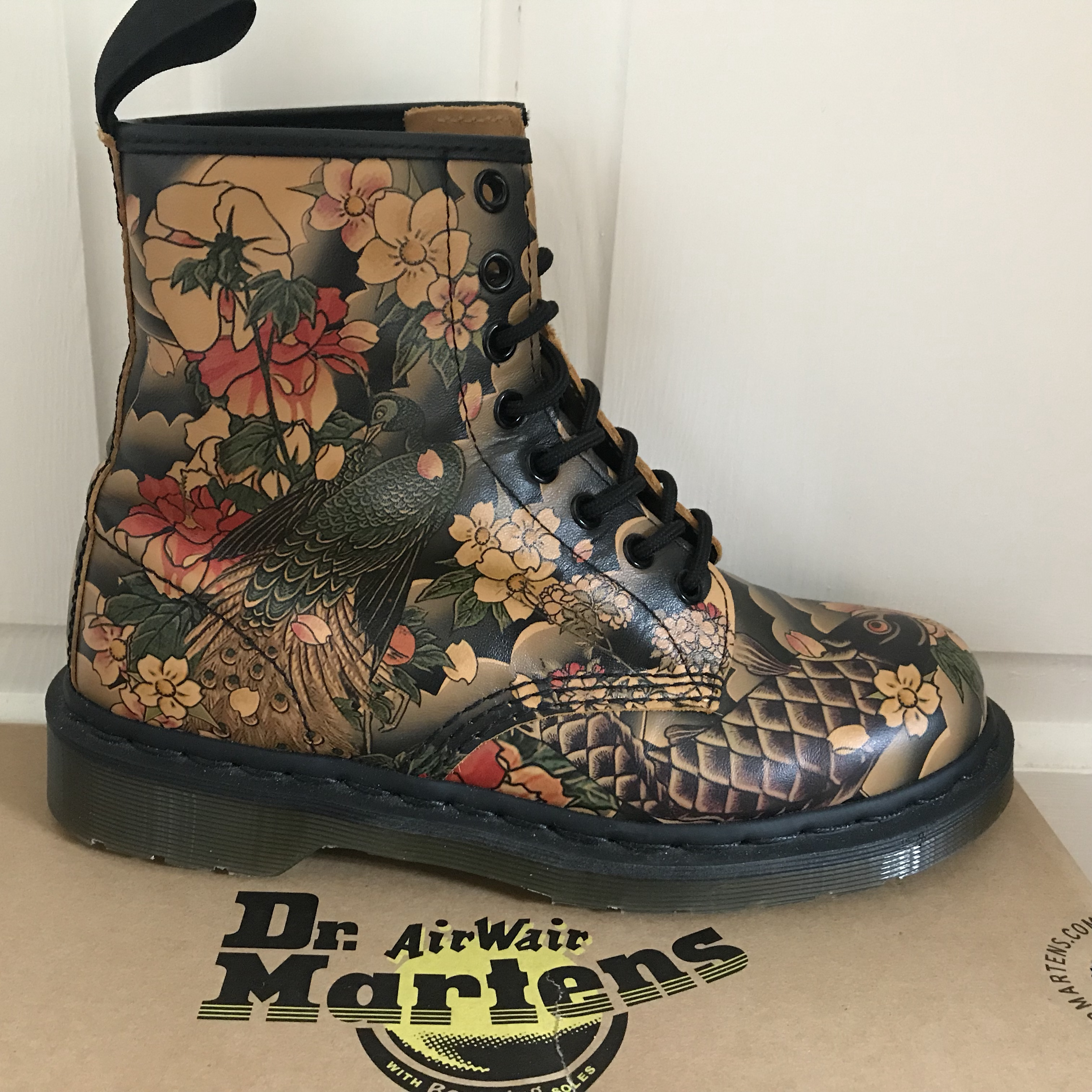 Dr Martens 1460 Tan Tattoo Sleeve Boots Tan Depop