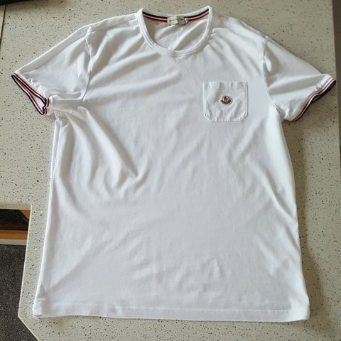 6a914397c Moncler T-Shirt White XL Worn but in good condition. No - Depop