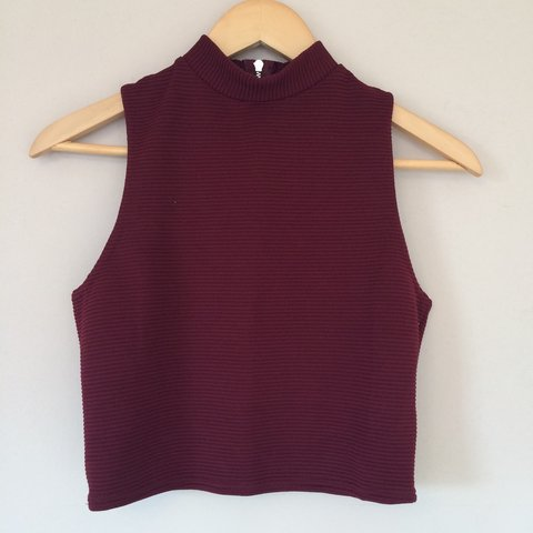 def8131888083 Never been worn no tags maroon New Look crop top with silver - Depop