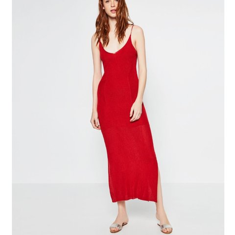 e892ae929a2a NEED GONE!!!! Limited edition Zara knit red maxi dress with - Depop