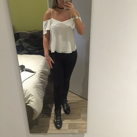 3e1ab4927553b7 White Topshop Bardot off the shoulder with tie up straps to - Depop