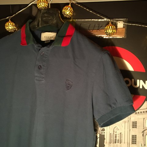 9017f8386fb Navy Blue Gucci polo 👕 👕 Size Extra Large (fits overall - Depop