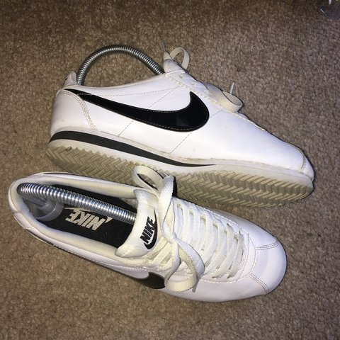 low cost 8cac6 0dbc9  jpsmith . 2 years ago. Sheffield, United Kingdom. Black and white leather Nike  Cortez size 3 ...
