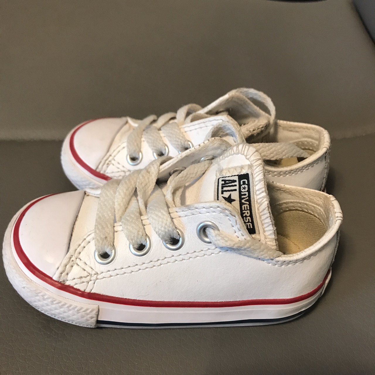 unisex leather look white converse