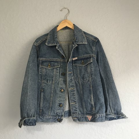 Vintage Guess Denim Jacket Size Tag Is Ripped Off But Fits Depop