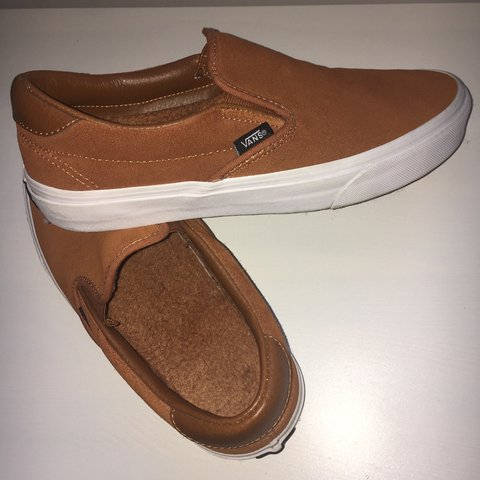 df29bc467849 •slip-on tan coloured suede vans •relatively new