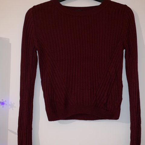 2b7e8d8e212 Topshop petite burgundy woven ribbed knitted sweater. So 4 6 - Depop