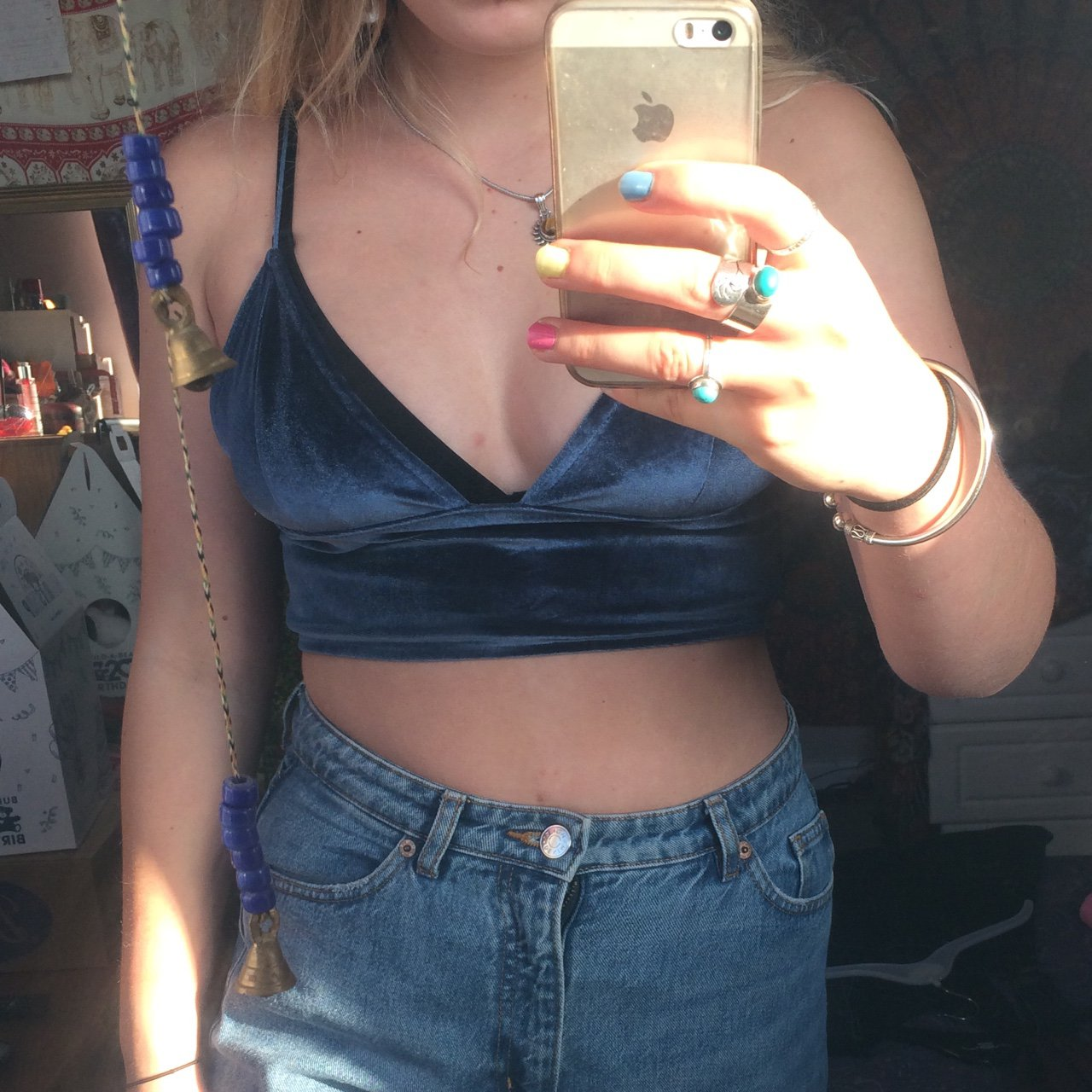 001a5e892f9261 Missguided navy blue velvet   velour bralet crop top worn x - Depop