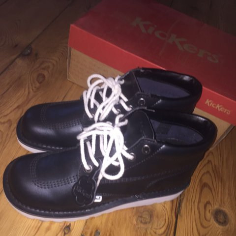 ea9b0fa5 Black and white kickers. Size 8 #kickers #trainers #shoes - Depop