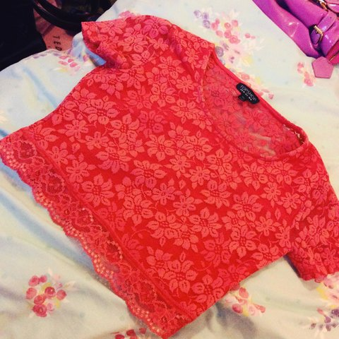 6ff1e3adf15f1c Topshop coral pink lace crop top size 10 x - Depop