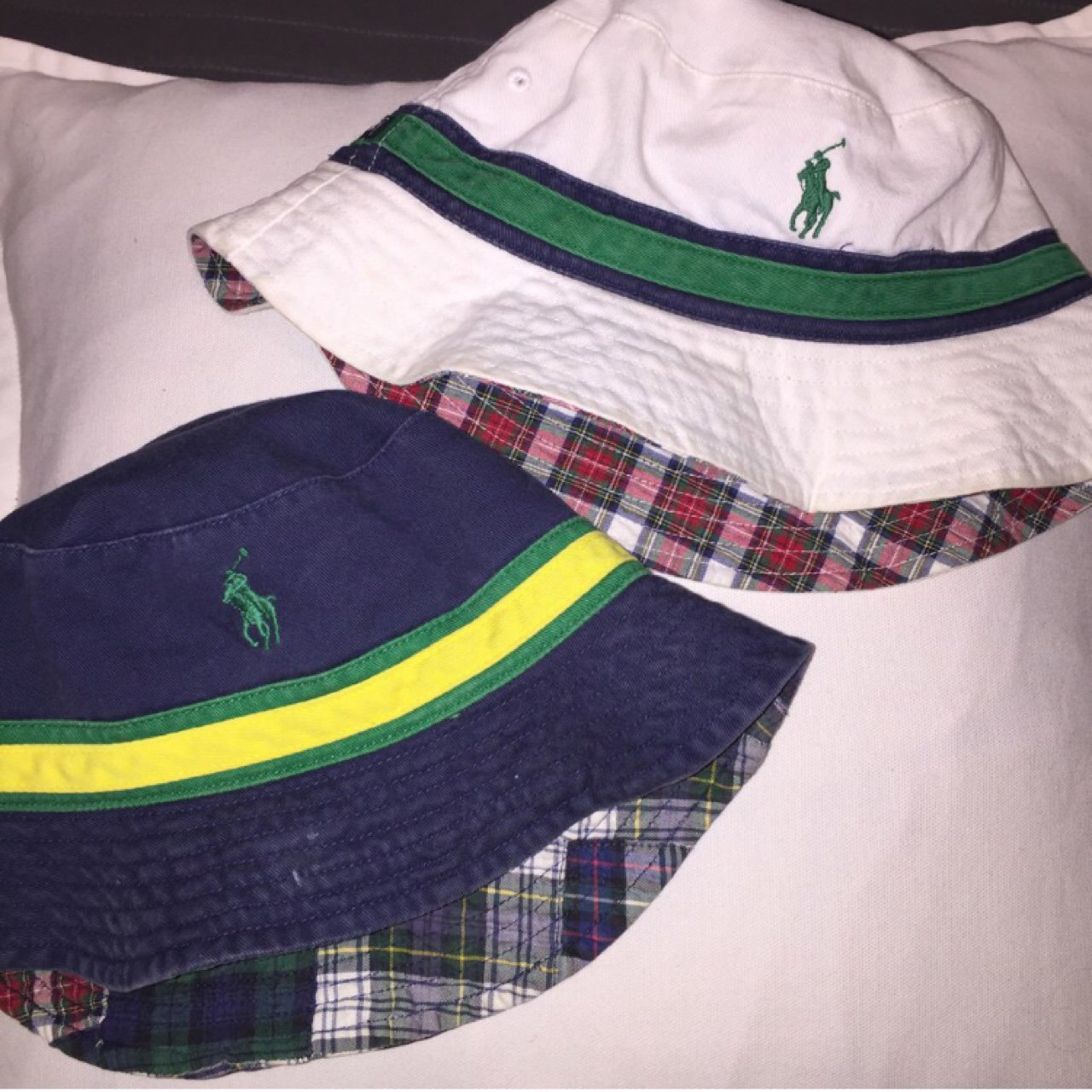f810bc1c @d1zl4. 2 years ago. Bristol, United Kingdom. VINTAGE POLO RALPH LAUREN  NAVY BLE WITH YELLOW STRIPE BUCKET HAT // OSFA // REVERSIBLE ...