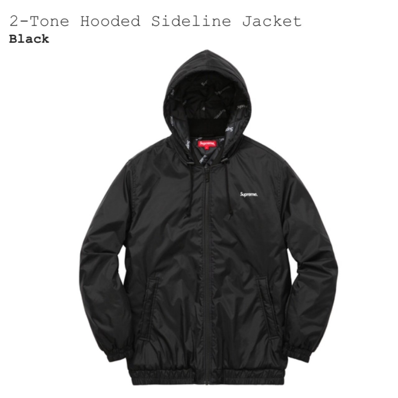 a791445251bb SUPREME 2 TONE HOODED SIDELINE JACKET BLACK LARGE - Depop